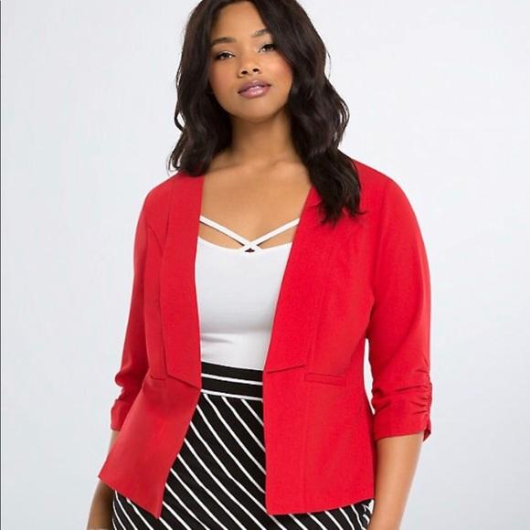 torrid Jackets & Blazers - Torrid Red Ruched Sleeve Blazer Size 4X